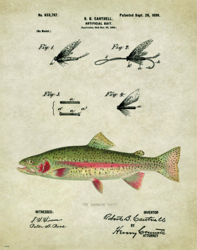 Fishing Lure Patent  Art Print Trout Vintage Flies Cabin Decor Gifts PAT148