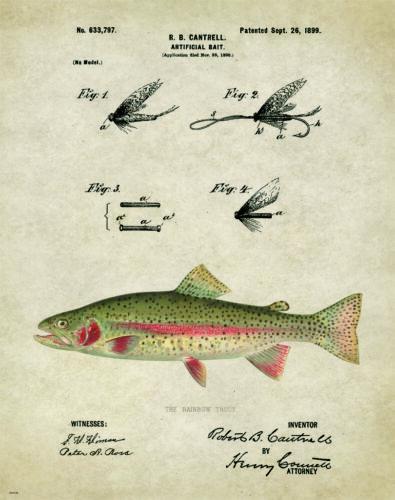 Fishing Lure Patent  Art Print Trout Vintage Flies Cabin Decor Gifts PAT148