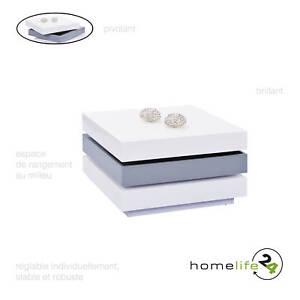 Table Basse Carree Moderne Blanc Et Gris Pivotante Ebay