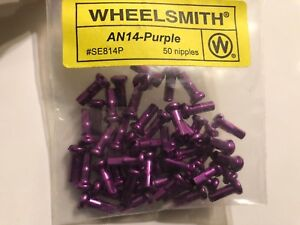 WHEELSMITH 2.0 X 12MM PURPLE ALLOY BICYCLE SPOKE NIPPLES--PACK OF 50