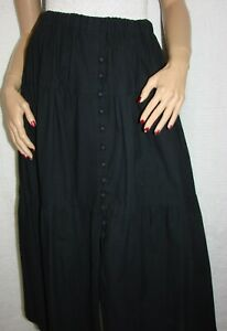 Black-Western-Long-Tiered-Full-Sweep-Skirt-Size-XL-Waist-38-42-034-Button-Front