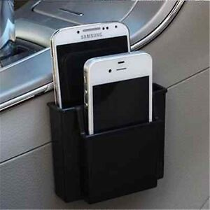 Black-Plastic-Car-Cell-Phone-Holder-Double-Layer-Storage-Box-Pocket-Organizer