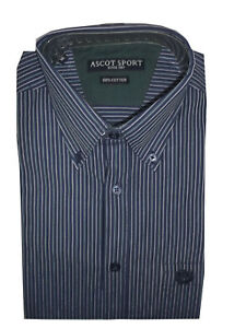 camicia-uomo-regular-fit-cotone-manica-lunga-3xl-blu-Button-Down-ascot-sport