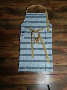 Hearth And Hand Magnolia Apron Black and White Stripes Mustard Yellow NWT