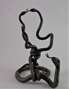 Bronze-Skulptur-drei-Schlangen-Taschenuhrstaender
