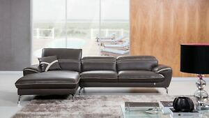 Details about 2PC Modern Taupe/ Light Gray Trim Italian Leather Sofa Chaise  Sectional Set