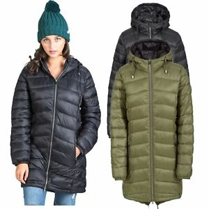 Trespass-Ruin-Womens-Padded-Jacket-Longer-Length-Coat-Green-amp-Black
