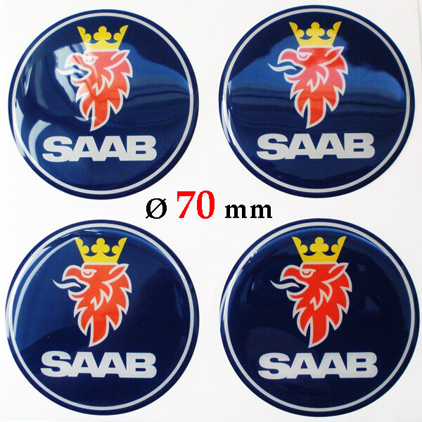 4x SAAB Ø 70 mm Alloy Wheel Center Centre Hubs Caps Emblems Stickers