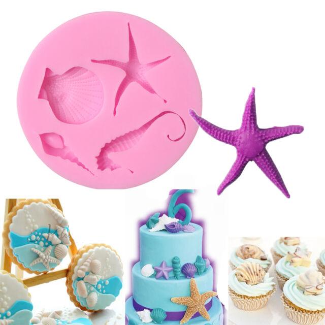 3D Shell Starfish Silicone Fondant Chocolate Cake Decor Sugarcraft Baking Mould