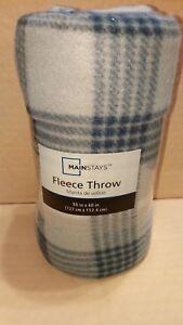 Blue-Tartan-multi-colored-printed-fleece-throw-blanket-50-x-60-Mainstay