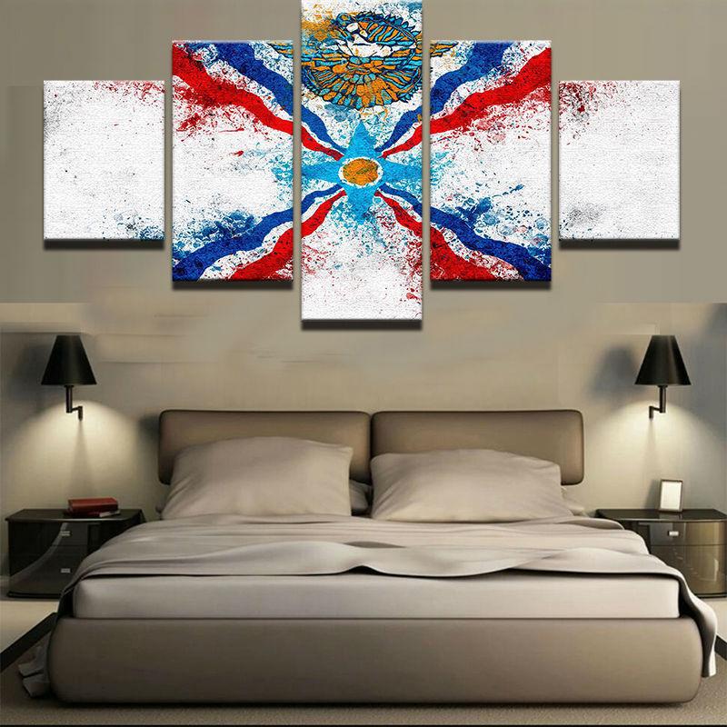 Assyria Flag Assyrian 5 panel canvas Wall Art Home Decor Poster Print