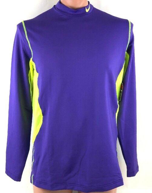 New Mens Nike Pro Combat Hyperwarm DriFit Max Fitted Thermal LS Mock Shirt L $60