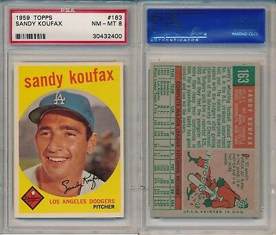 Baseball Card EX Dodgers Deans Cards 5 1959 Topps # 163 Sandy Koufax Los Angeles Dodgers