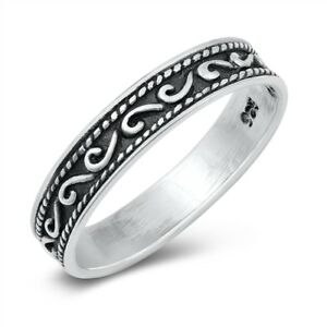Beaded Oxidized Bali Chevron Pointed Ring .925 Sterling Silver Band Sizes 3-10