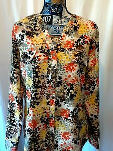Laura-Scott-Womens-Top-Size-L-Multicolor-Print-Long-Roll-Tab-Sleeve-Button-Front