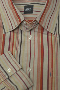 Hugo-Boss-Men-039-s-Stone-Brown-Multi-Stripe-Cotton-Casual-Shirt-XL-XLarge