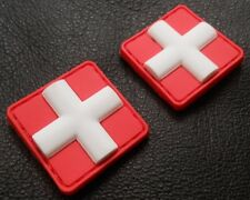 3D PVC MEDIC CROSS SQUARE EMT PARAMEDIC RED 2 MINI VELCRO® BRAND FASTENER PATCH