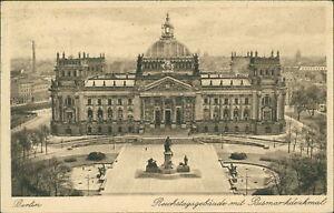 Ansichtskarte Berlin Reichstagsgebäude mit Bismarckdenkmal 1928  (Nr.9015)
