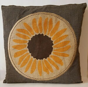 Sunflower-Burlap-Gingham-Cloth-Primitive-Pillow-Cushion-Cover-15x15