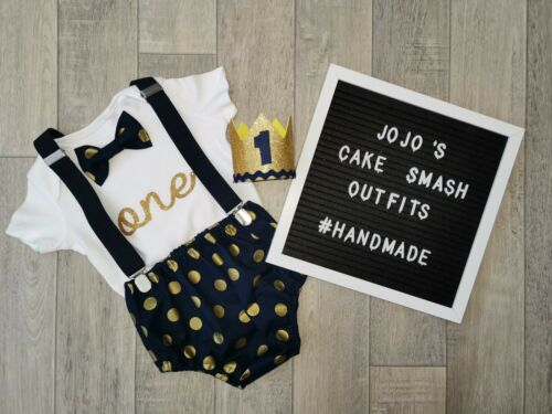 Navy blue and gold.Photo Prop Luxury Baby Boys 1st Birthday Cake Smash Outfit