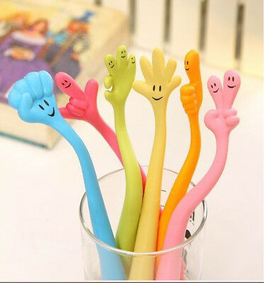Cute Smile Face Flexibility Bendable Finger Gesture Ballpoint Pen Stationery