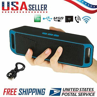 Wireless Bluetooth Speaker USB FM Stereo Mini Super Bass Portable MP3 Player USA