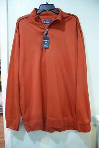 Men Daniel Cremieux Red/Orange 1/4 QTR Zip Up PulloverSweatshirt/shirt/Jacket-XL