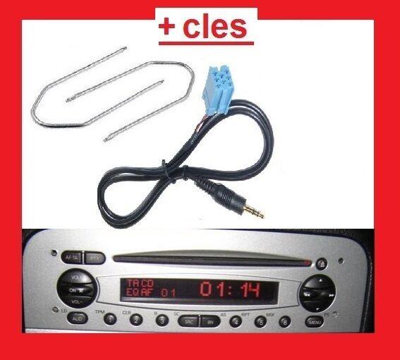 Cable auxiliaire mp3 autoradio jack ALFA ROMEO 147 DE 2002 PHASE 1 + 2 cles