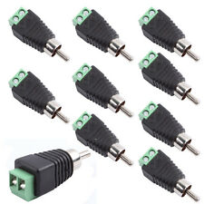 10pcs Phono Speaker Wire Cable to Audio Male RCA Connector Adapter ...
