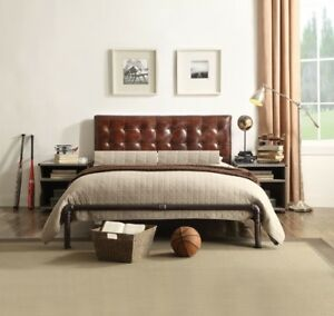 Retro Brown Finish Metal Frame Top Grain Leather Queen Bed Night