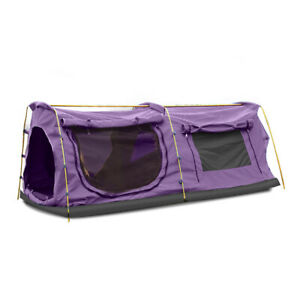 Mountview Double King Swag Camping Swags Canvas Dome Tent Hiking Mattress Purple