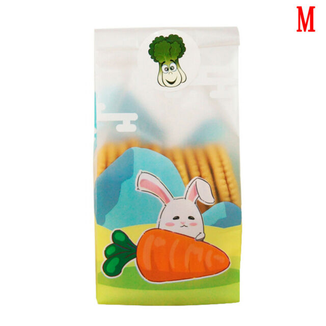 Plastic Resealable Biscuit Bags Two Little Rabbits Self-Adhesive About 100pcs