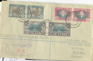 South-Africa-Stamps-B9-11-VF-COVER-Pairs-Tied-On-Registered-Harris-Cover-Rare