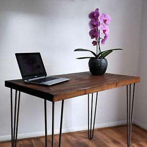 Image Is Loading Retro Rustic Solid Wood Desk Metal 3