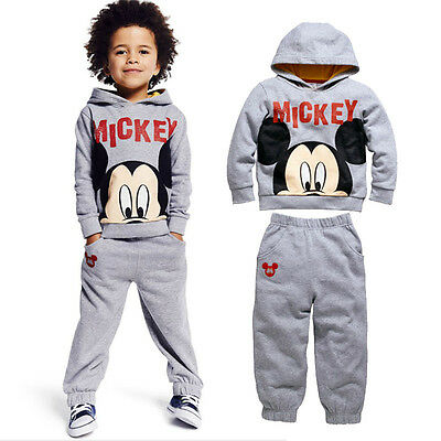 2PCS Baby Boys Lovely mickey long-sleeved sports leisure coat +trousers set 2-6T