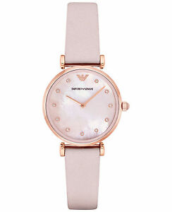 Emporio Armani Retro Rose Gold AR1958 Pink Mother-of-Pearl Leather ... c14e8c459d28