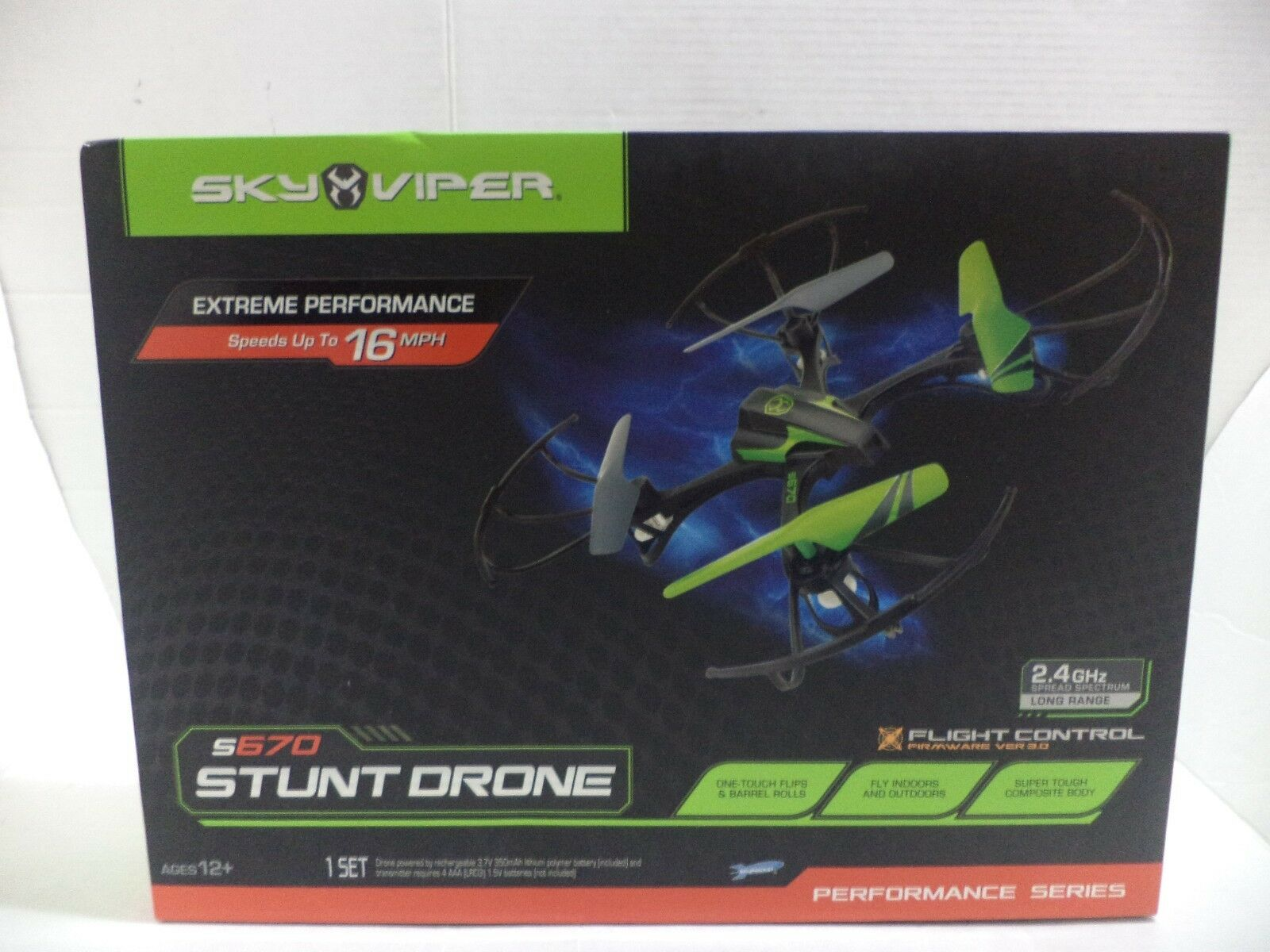 Sky Viper Stunt Drone RC transmitter  requires four AAA 1.5V batteries, not incl