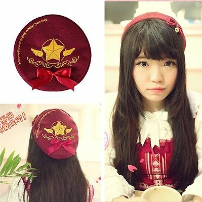 Japan Anime Card Captor Sakura Cosplay The Clow Hat Red bow-knot Cap