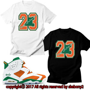 online store bc23a 5aaad Details about NEW CUSTOM T SHIRT Air Jordan 6 Gatorade matching TEE JD  1-3-1-7 Gator No.23