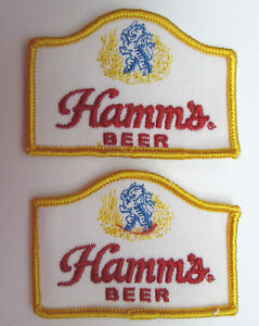TWO-Hamms-Beer-Patches-3-1-4-x-2-1-4-Sew-On-vintage-Breweriana-New-Old-Stock-NOS