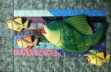 FISH Wall Plaques Lot Kissing 1950s MILLER STUDIOS ? Chalkware MCM Vtg Retro