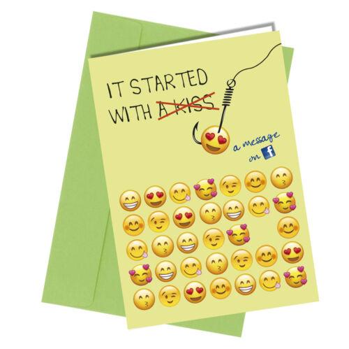 #920 Facebook Kiss VALENTINE BIRTHDAY Greeting Card Boy Girl HUMOUR Funny Rude