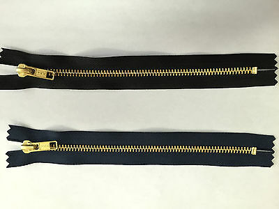 "2 X 8"" (20CM) BLACK OR NAVY BRASS  CLOSED ENDED YKK ZIPS EXCELLENT QUALITY"