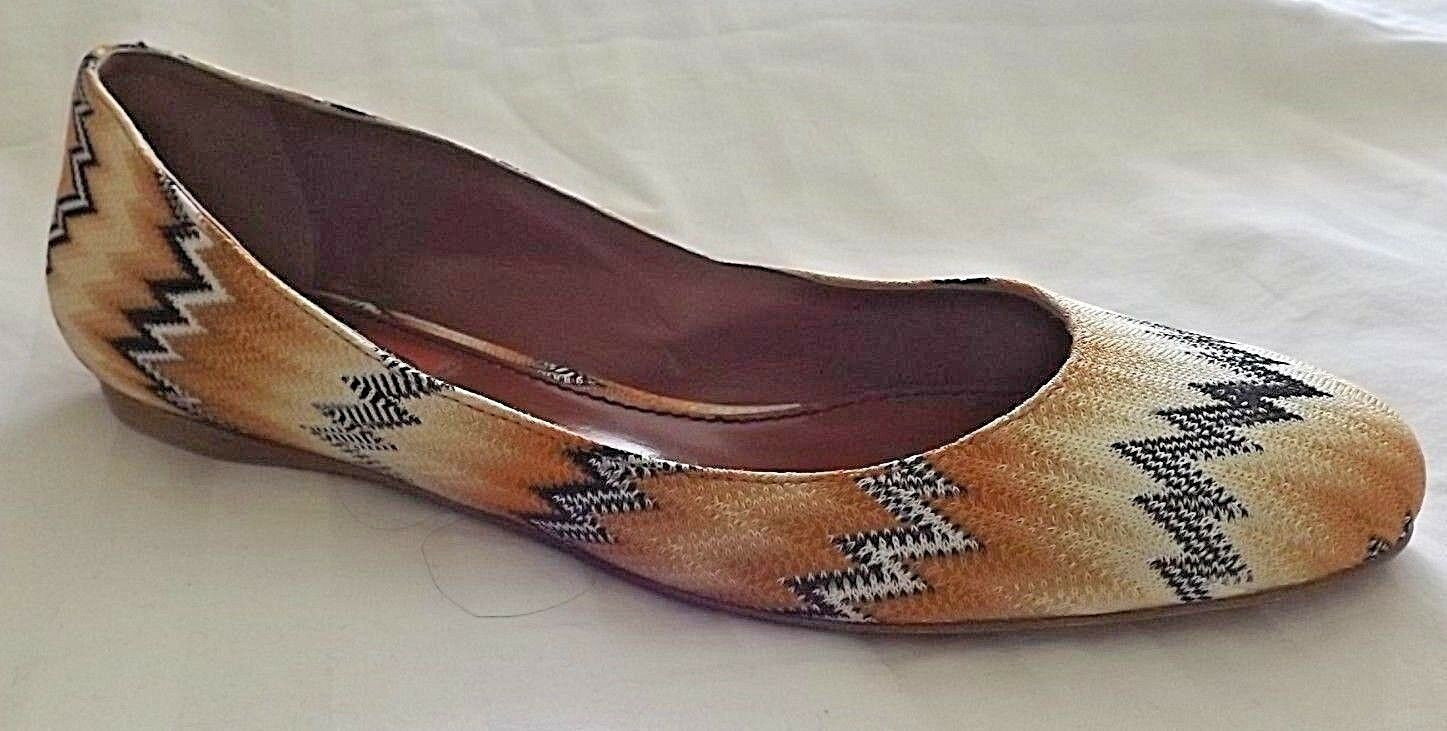 MISSONI orange LABEL GEOMETRIC  Canvas Leather Flat  SHOES,38 NEW. ITALY.