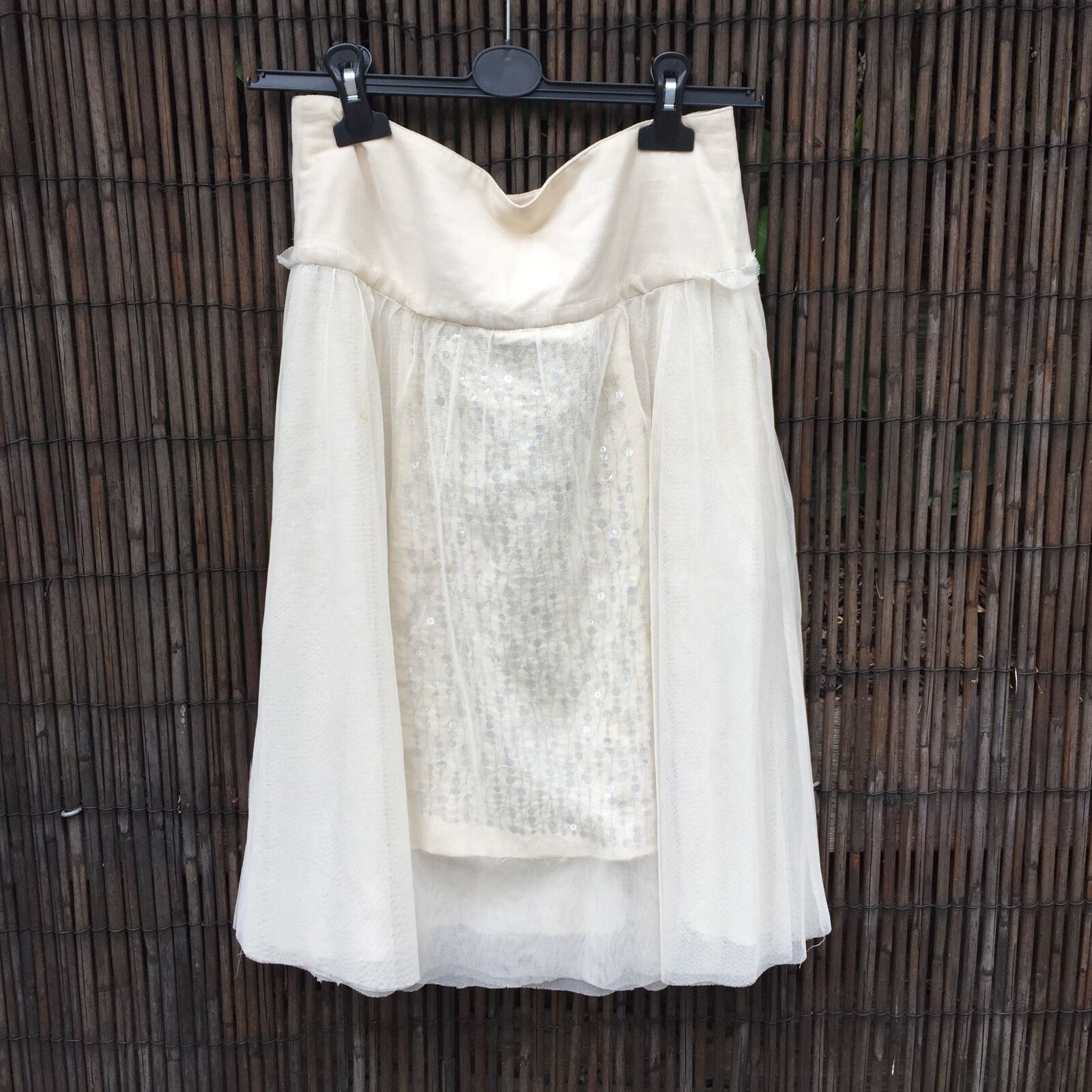 Ladies cream skirt. Pretty layered evening party skirt with sequins by Noa Noa