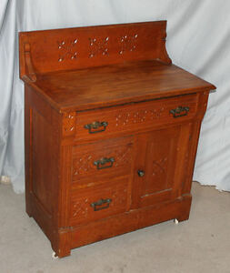 Antique Oak Wash Stand Commode Eastlake Style Ebay
