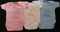 I Love My Daddy Baby Vest Grow Babies Clothes Funny Gift Boy Girl Pink Blue