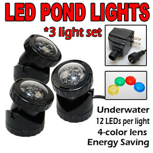 Submersible 3 Led Pond Light Set For Underwater Fountain Fish Pond Water Garden Ebay