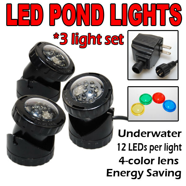 SUBMERSIBLE 3 LED POND LIGHT SET FOR UNDERWATER FOUNTAIN FISH POND WATER GARDEN