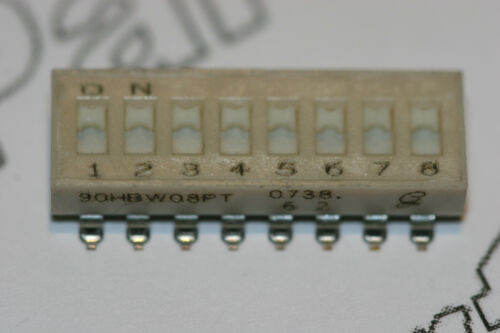 DIL Switch 8 Way Slide SMD SPST Low Profile Grayhill 90HBW08PT